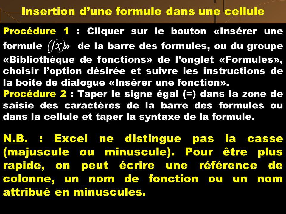 Insertion d'une formule dans une cellule