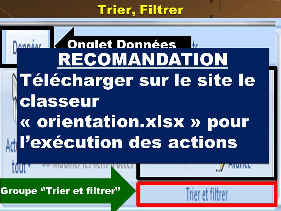 Groupe ''Trier et filtrer''