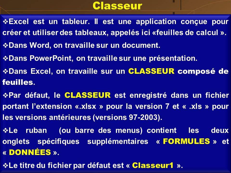 Classeur Excel est un tableur. Il est une application conçue pour créer et utiliser des tableaux, appelés ici «feuilles de calcul ».