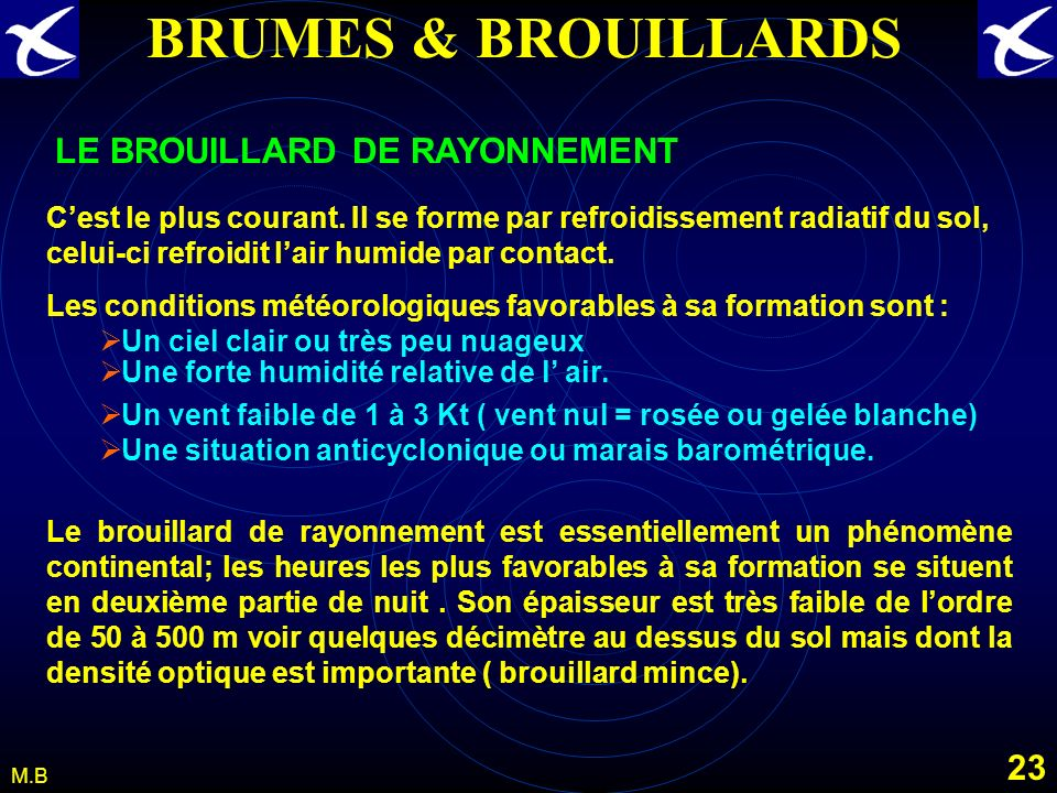 BRUMES & BROUILLARDS LE BROUILLARD DE RAYONNEMENT