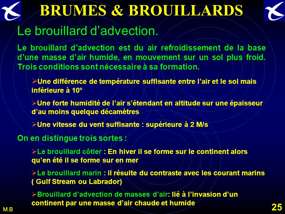 BRUMES & BROUILLARDS Le brouillard d'advection.