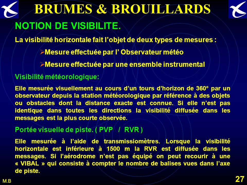 BRUMES & BROUILLARDS NOTION DE VISIBILITE.