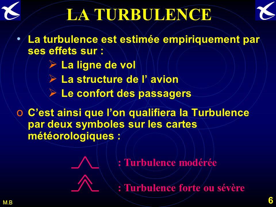 LA TURBULENCE La turbulence est estimée empiriquement par ses effets sur : La ligne de vol. La structure de l' avion.