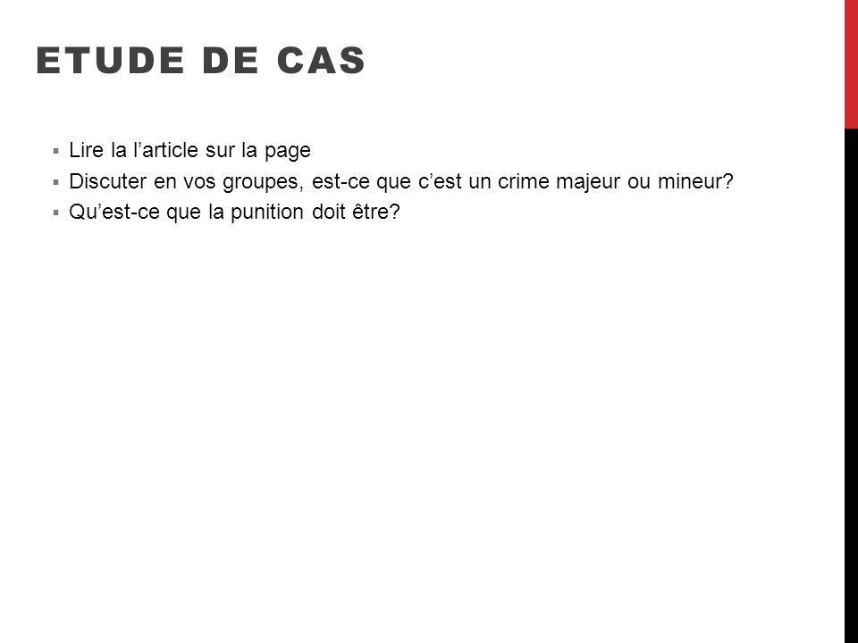 ETUDE DE CAS Lire la l'article sur la page