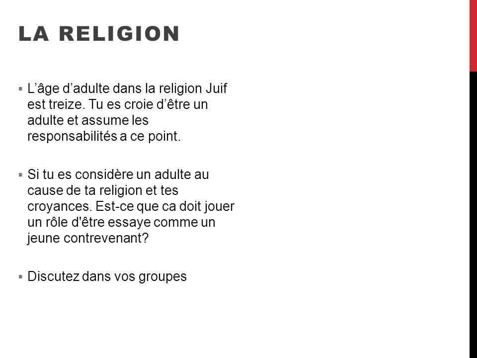 LA RELIGION L'âge d'adulte dans la religion Juif est treize. Tu es croie d'être un adulte et assume les responsabilités a ce point.