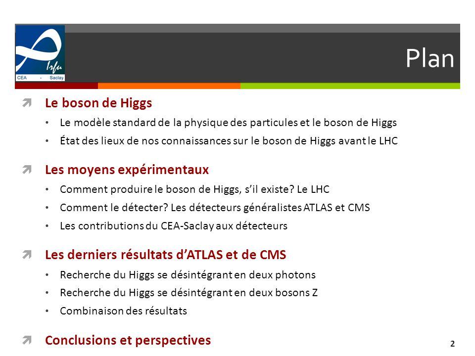 Plan Le boson de Higgs Les moyens expérimentaux
