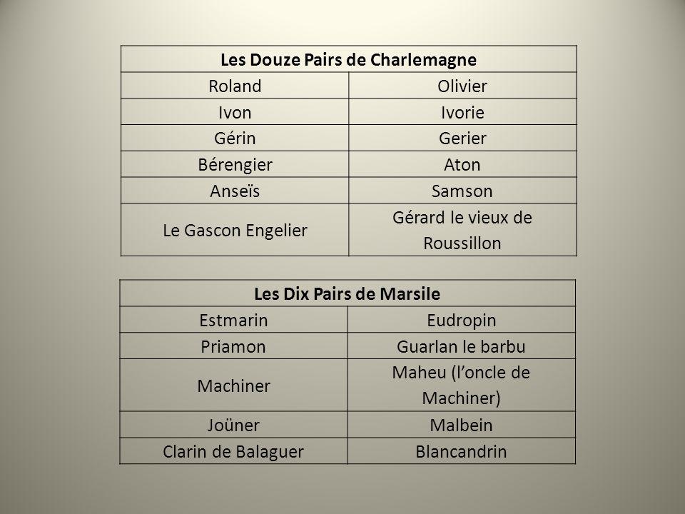 Les Douze Pairs de Charlemagne Les Dix Pairs de Marsile