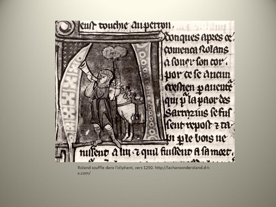 Roland souffle dans l'oliphant, vers 1250. http://lachansonderoland