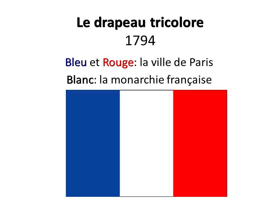 Le drapeau tricolore 1794 Bleu et Rouge: la ville de Paris