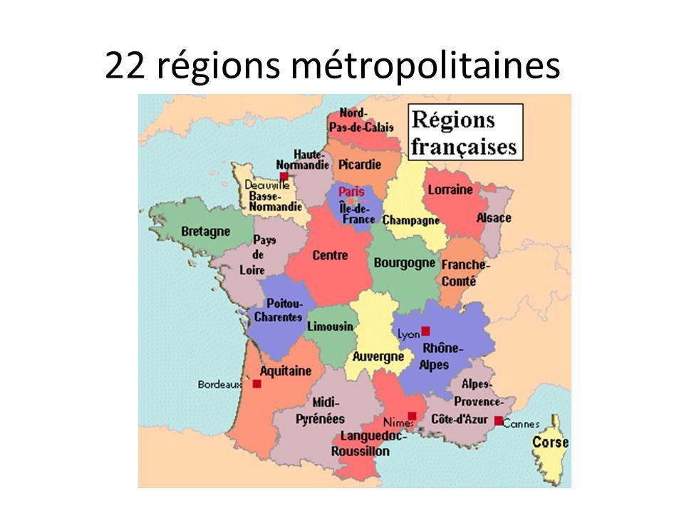 22 régions métropolitaines