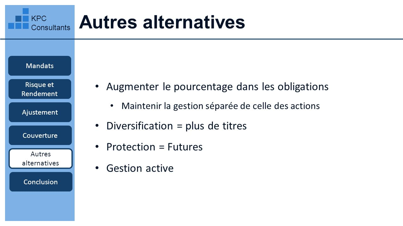 Autres alternatives Augmenter le pourcentage dans les obligations