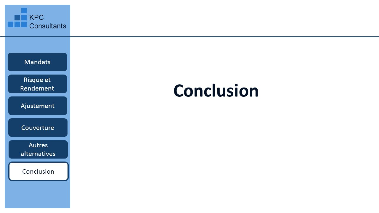 Conclusion KPC Consultants Mandats Risque et Rendement Ajustement