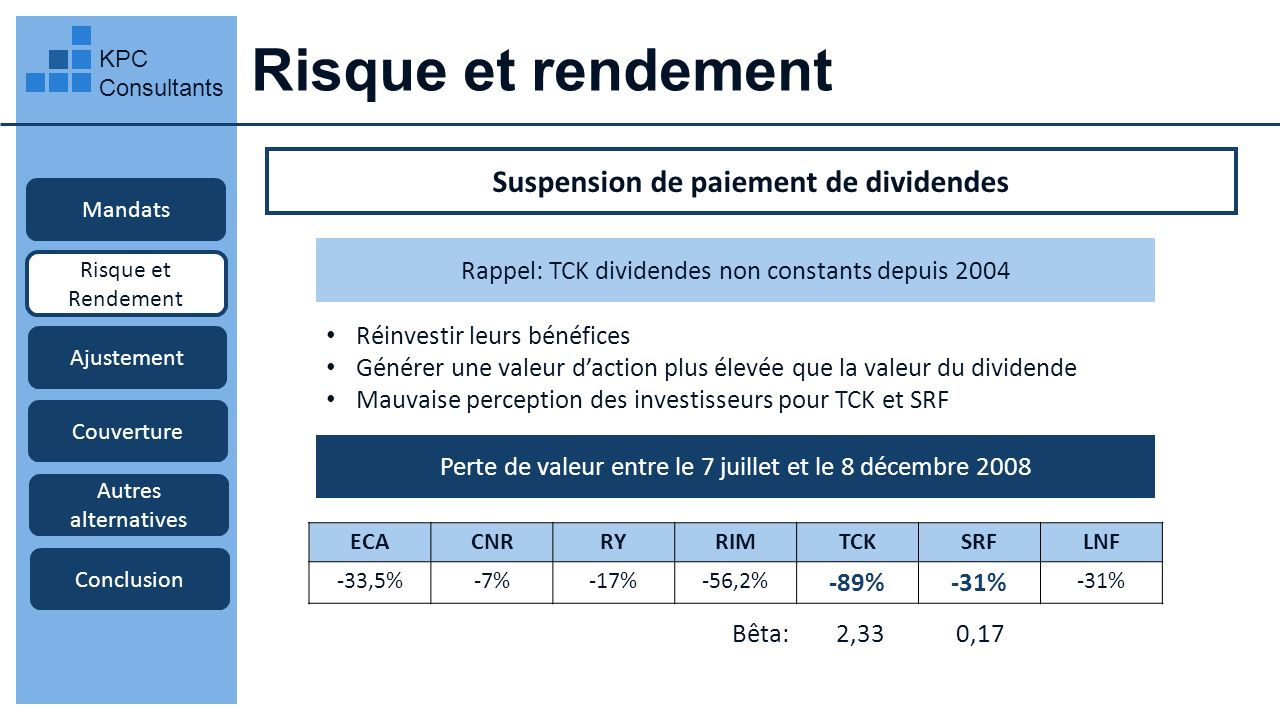 Suspension de paiement de dividendes