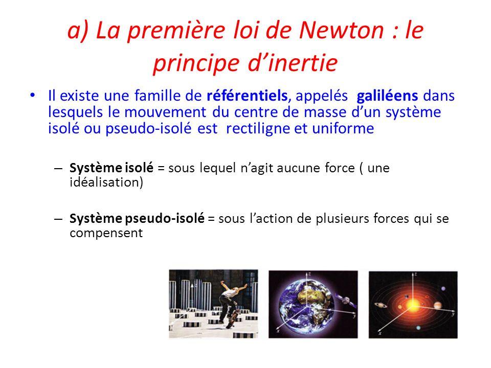 a) La première loi de Newton : le principe d'inertie