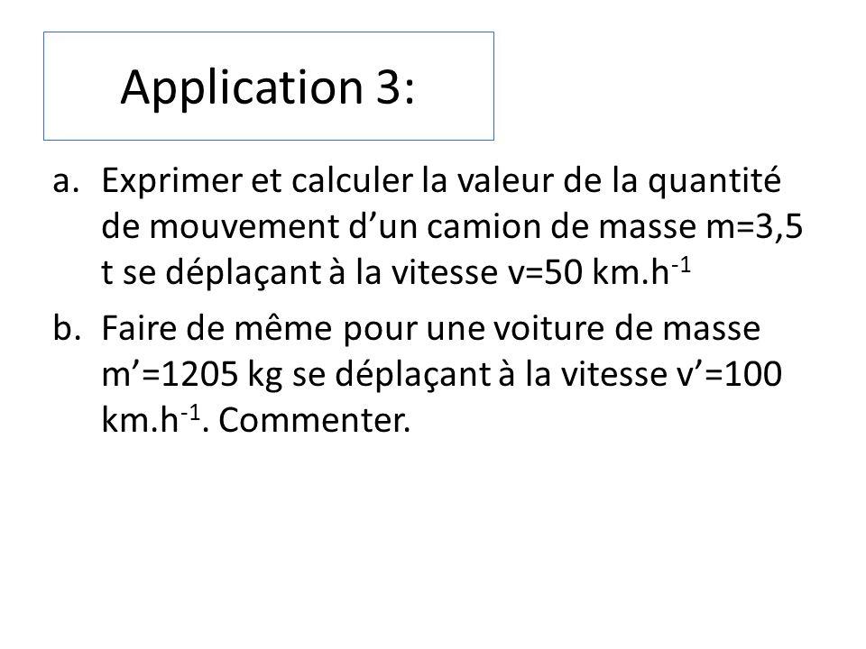 Application 3: Exprimer et calculer la valeur de la quantité de mouvement d'un camion de masse m=3,5 t se déplaçant à la vitesse v=50 km.h-1.