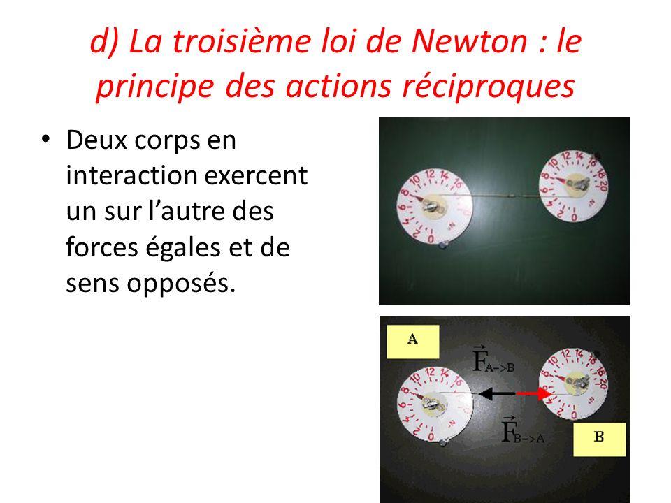 d) La troisième loi de Newton : le principe des actions réciproques