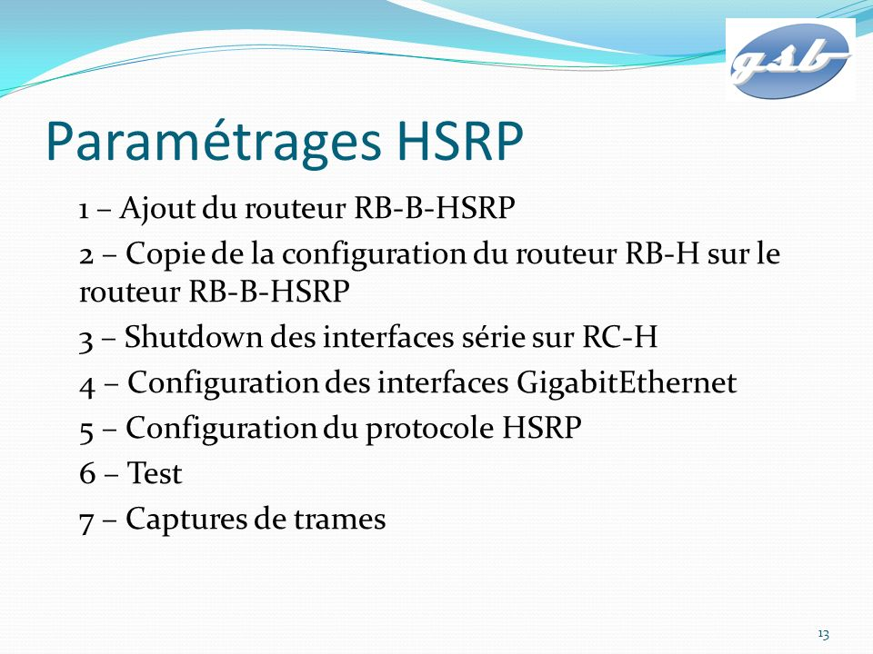 Paramétrages HSRP