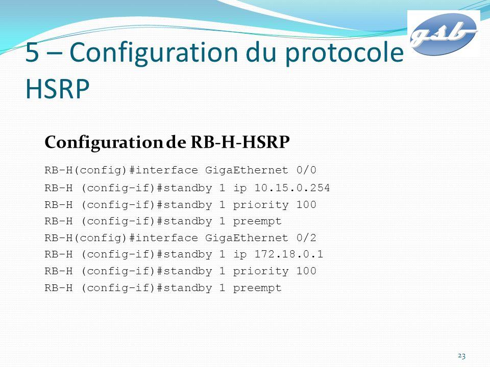 5 – Configuration du protocole HSRP