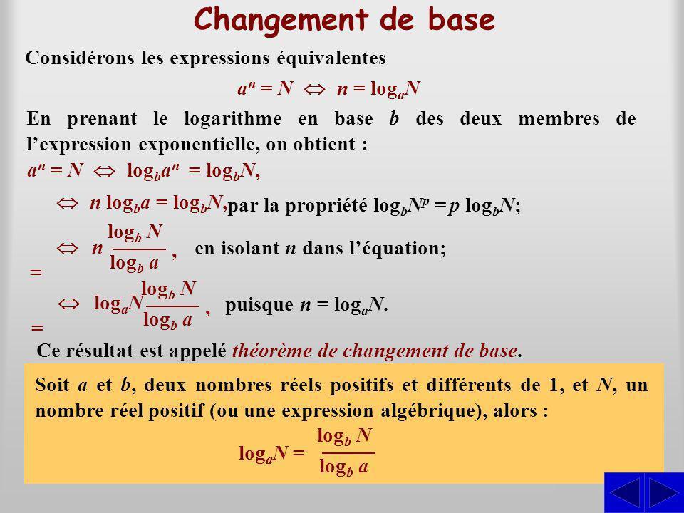 Changement de base S S Considérons les expressions équivalentes
