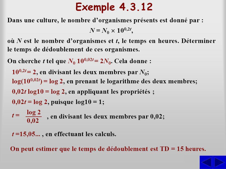 Exemple 4.3.12 Dans une culture, le nombre d'organismes présents est donné par : N = N0 ´ 100,2t,