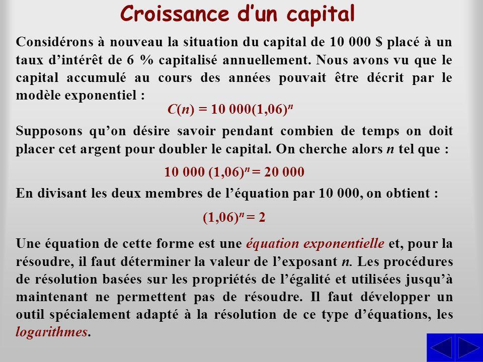 Croissance d'un capital