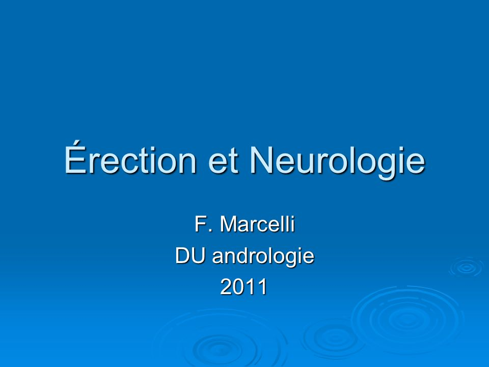 Érection et Neurologie