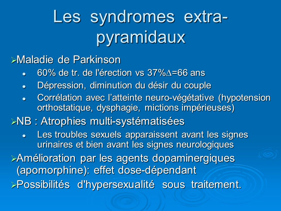 Les syndromes extra-pyramidaux
