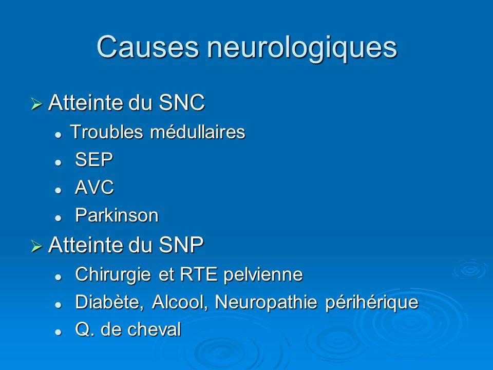 Causes neurologiques Atteinte du SNC Atteinte du SNP