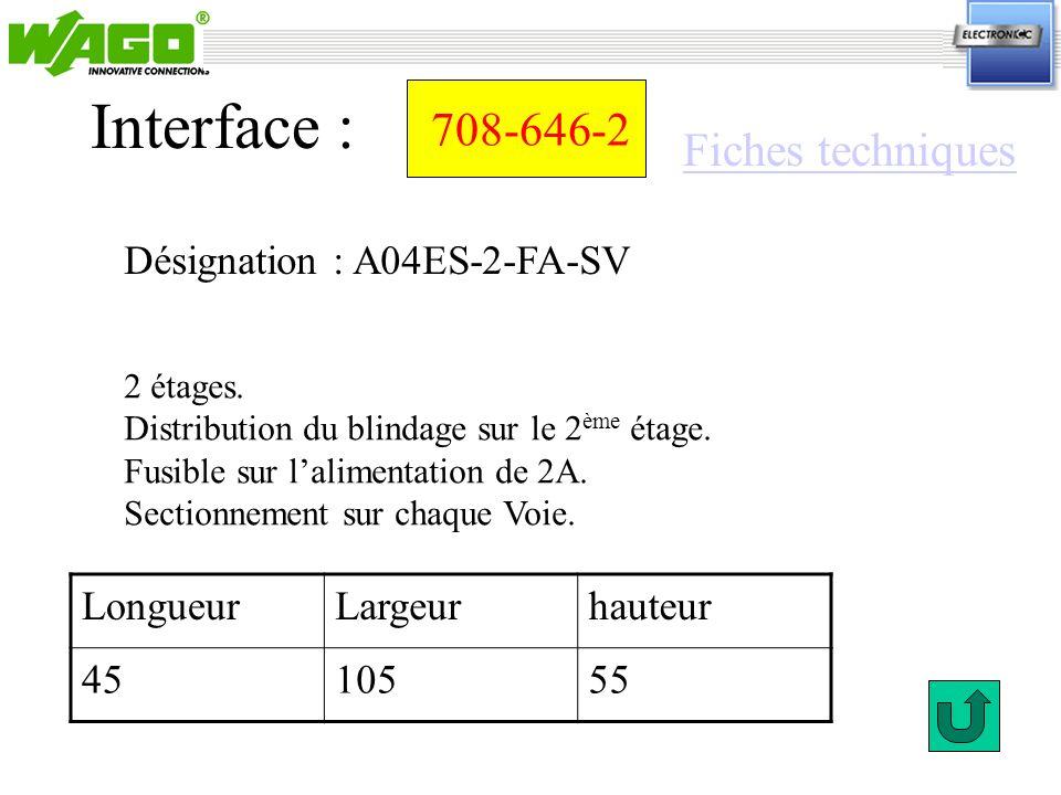 Interface : 708-646-2 Fiches techniques Désignation : A04ES-2-FA-SV
