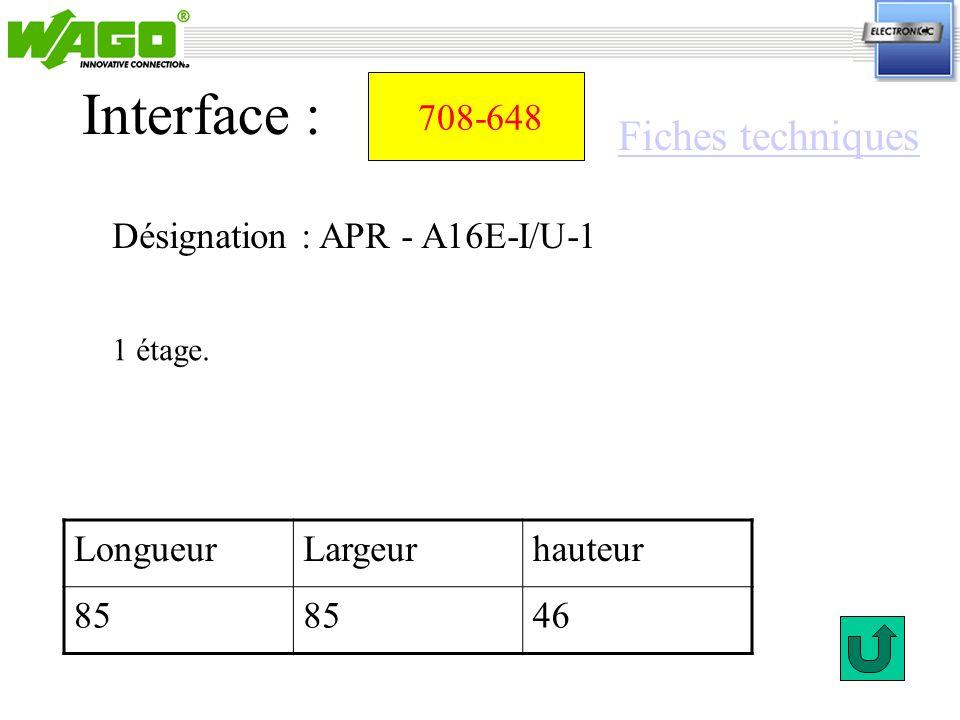Interface : Fiches techniques 708-648 Désignation : APR - A16E-I/U-1