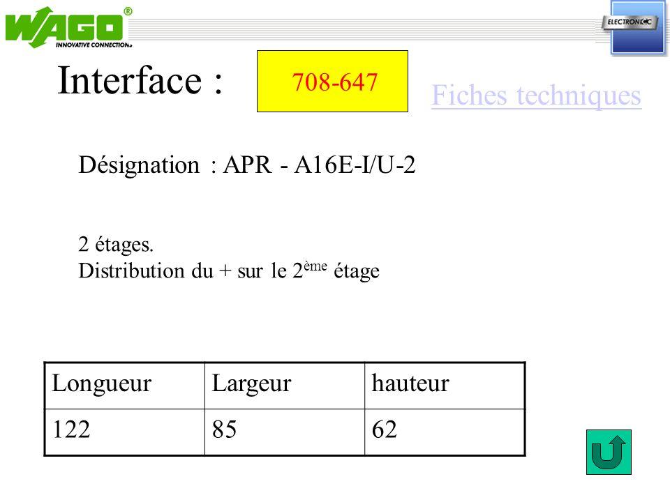 Interface : Fiches techniques 708-647 Désignation : APR - A16E-I/U-2