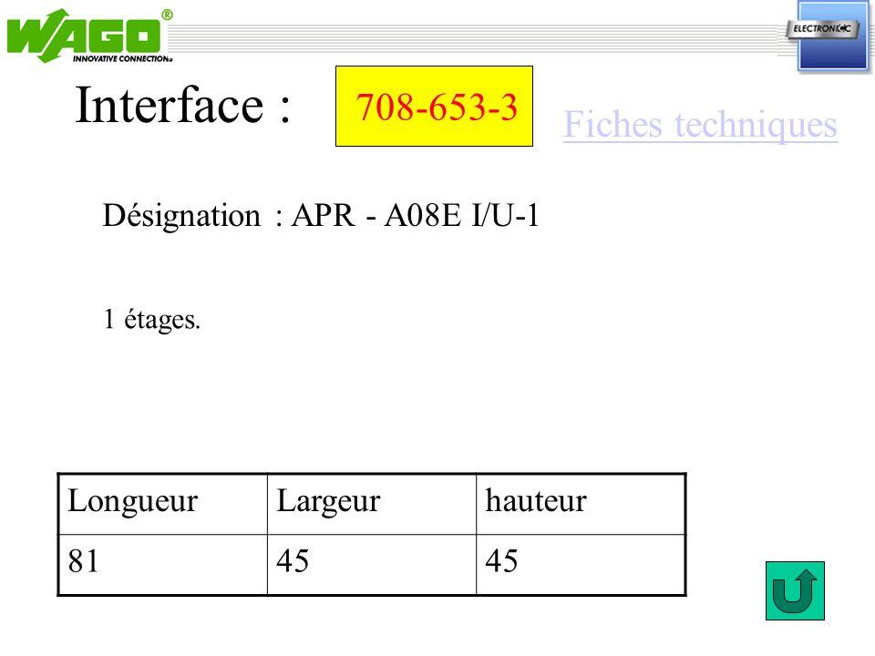 Interface : 708-653-3 Fiches techniques Désignation : APR - A08E I/U-1
