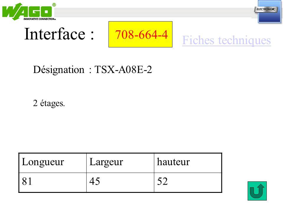Interface : 708-664-4 Fiches techniques Désignation : TSX-A08E-2