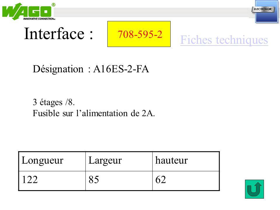 Interface : Fiches techniques 708-595-2 Désignation : A16ES-2-FA