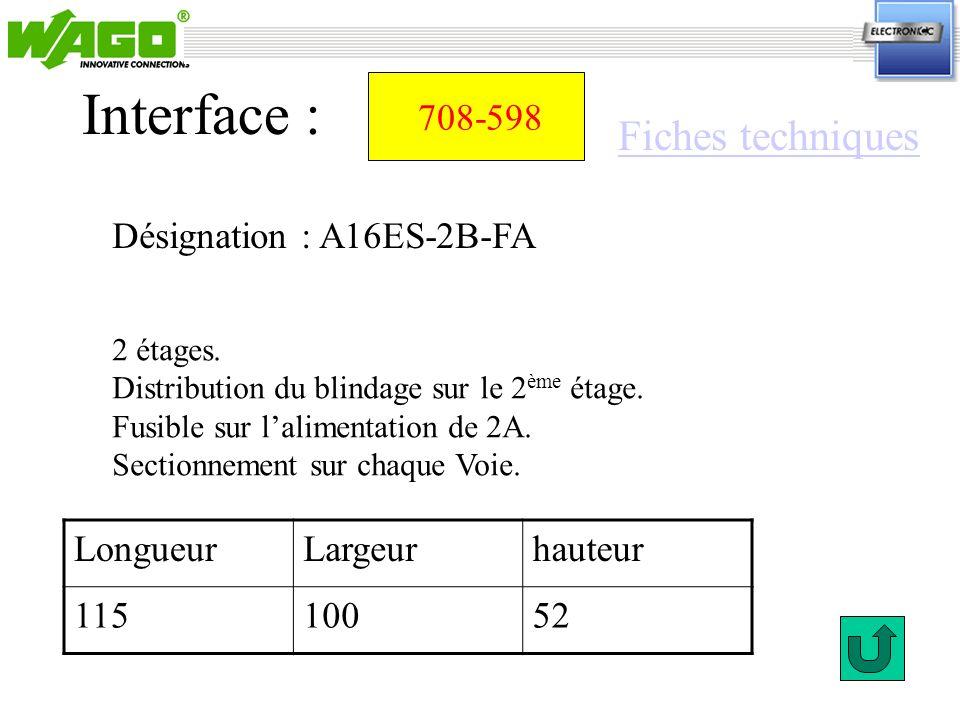Interface : Fiches techniques 708-598 Désignation : A16ES-2B-FA