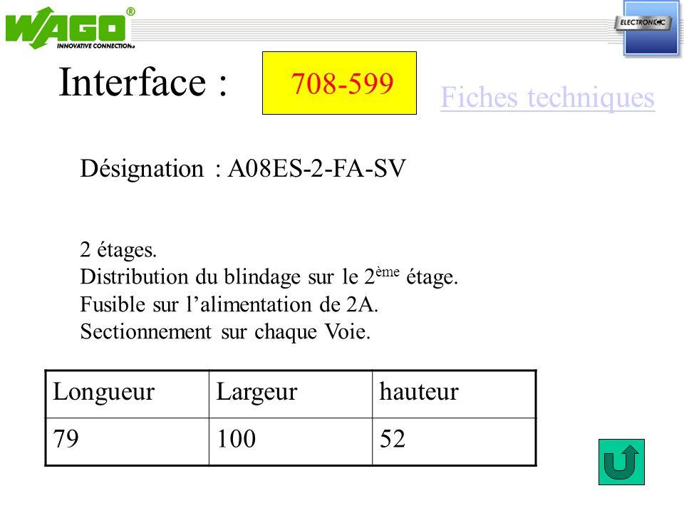 Interface : 708-599 Fiches techniques Désignation : A08ES-2-FA-SV