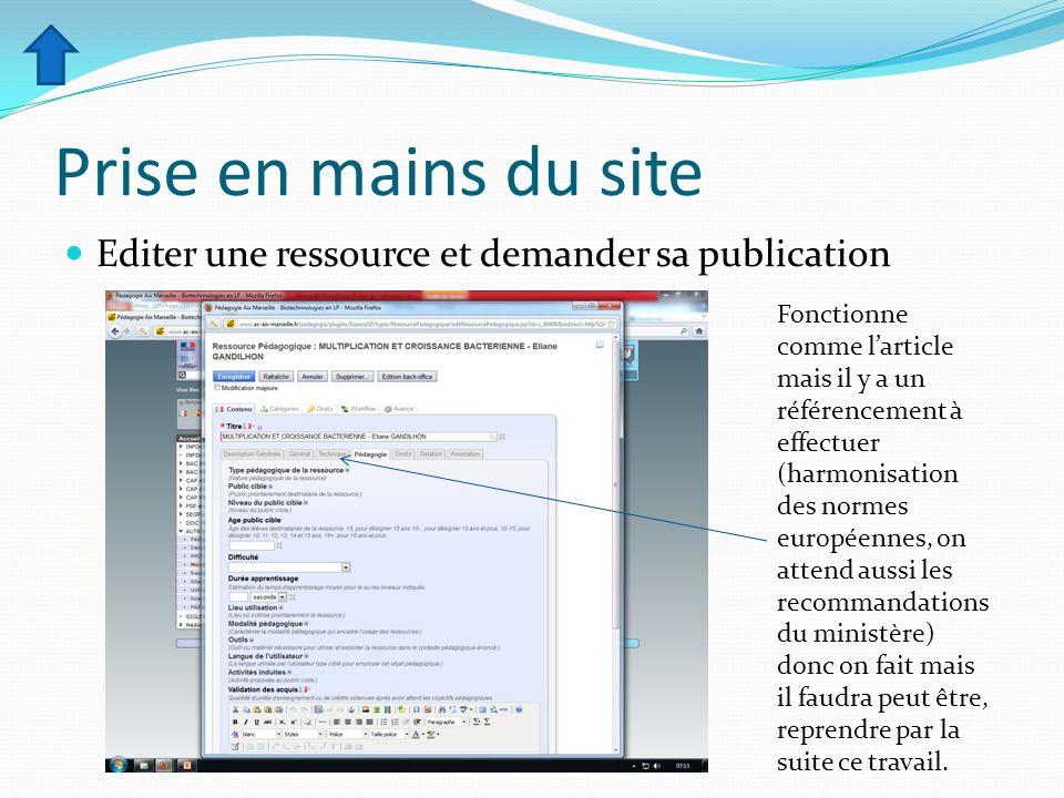 Prise en mains du site Editer une ressource et demander sa publication