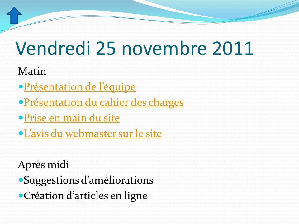 Vendredi 25 novembre 2011 Matin Présentation de l'équipe