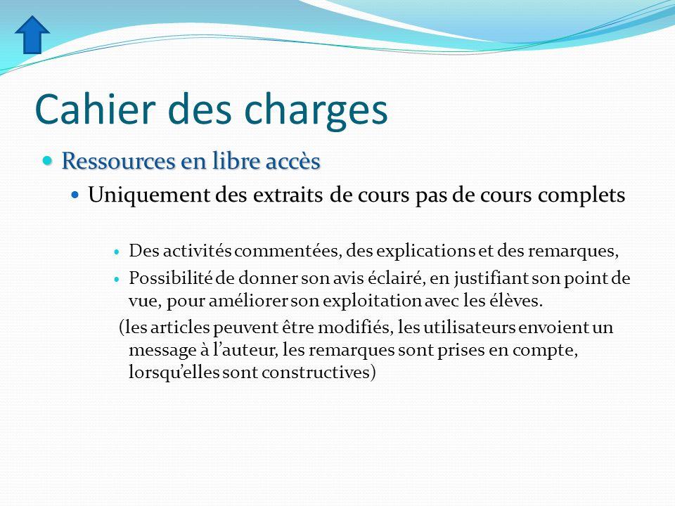 Cahier des charges Ressources en libre accès