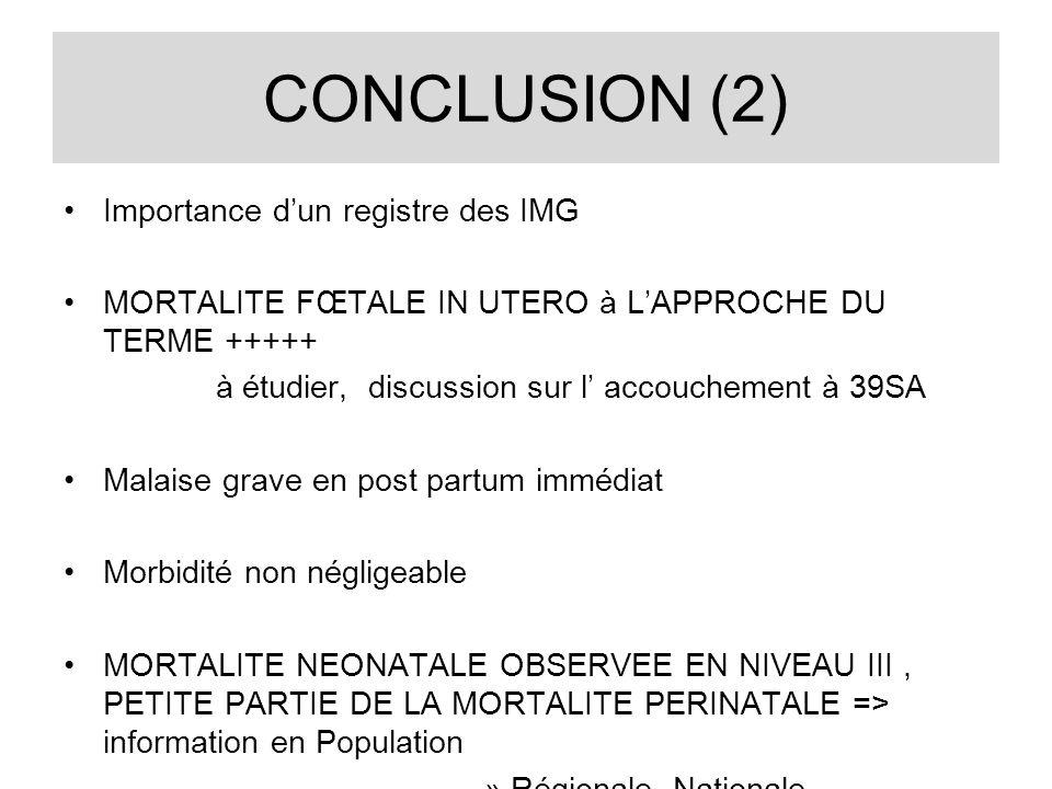 CONCLUSION (2) Importance d'un registre des IMG