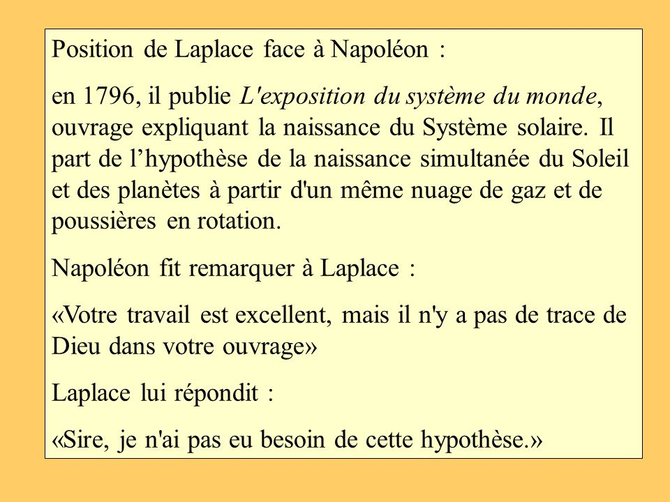 Position de Laplace face à Napoléon :