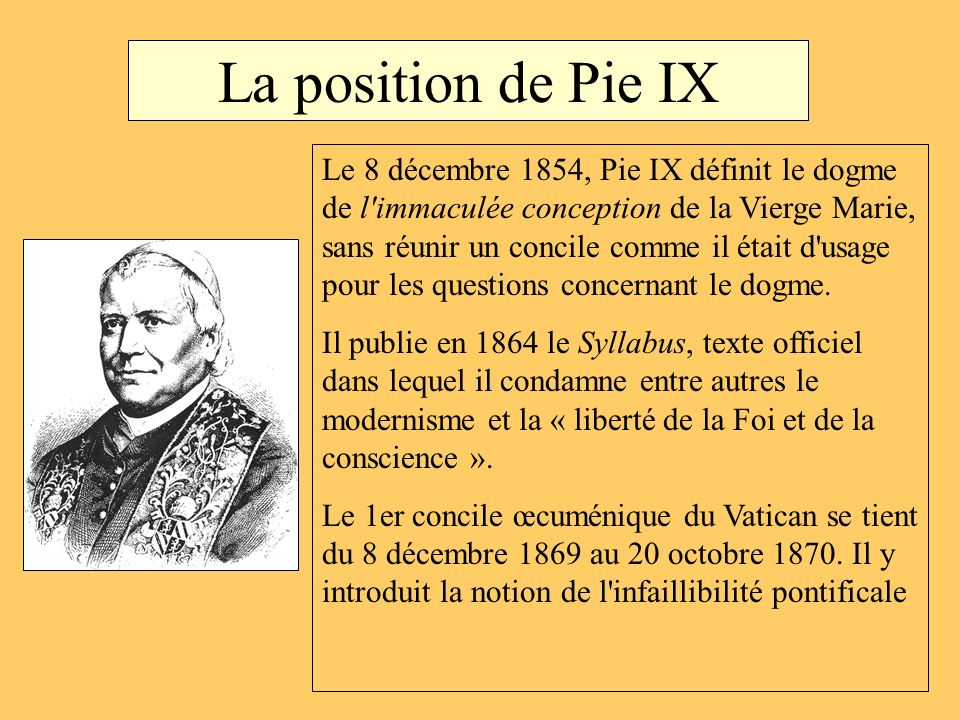 La position de Pie IX