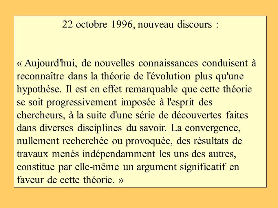 22 octobre 1996, nouveau discours :