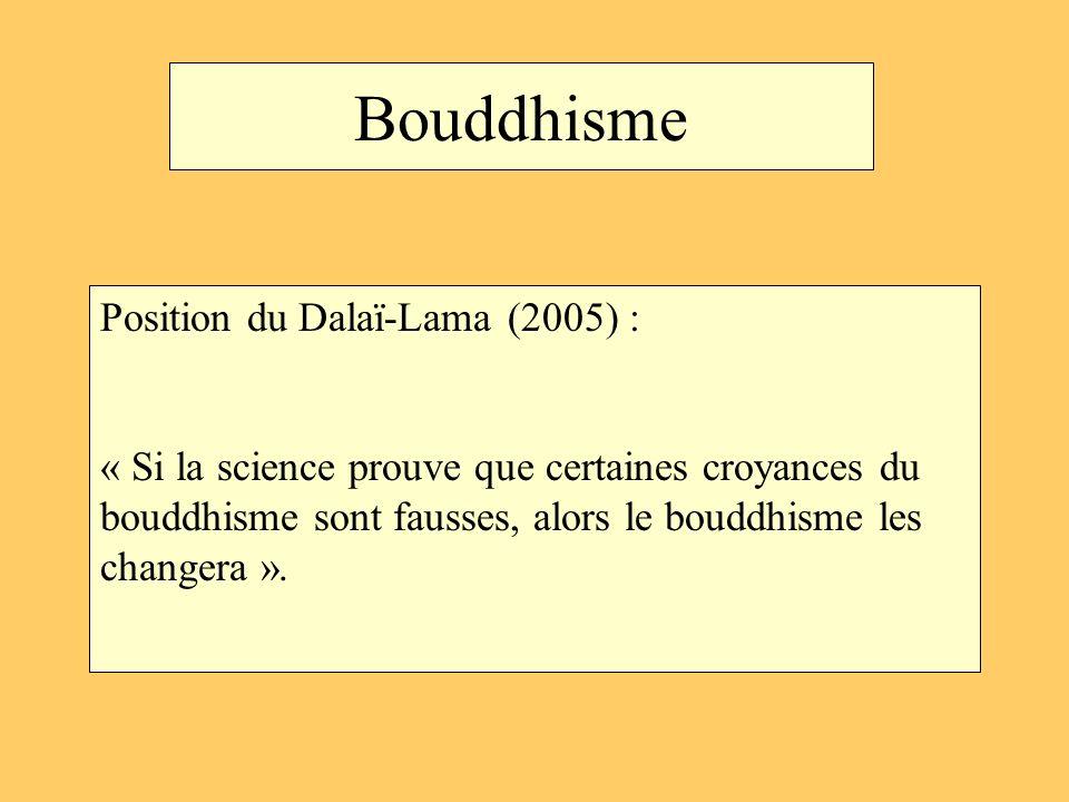Bouddhisme Position du Dalaï-Lama (2005) :