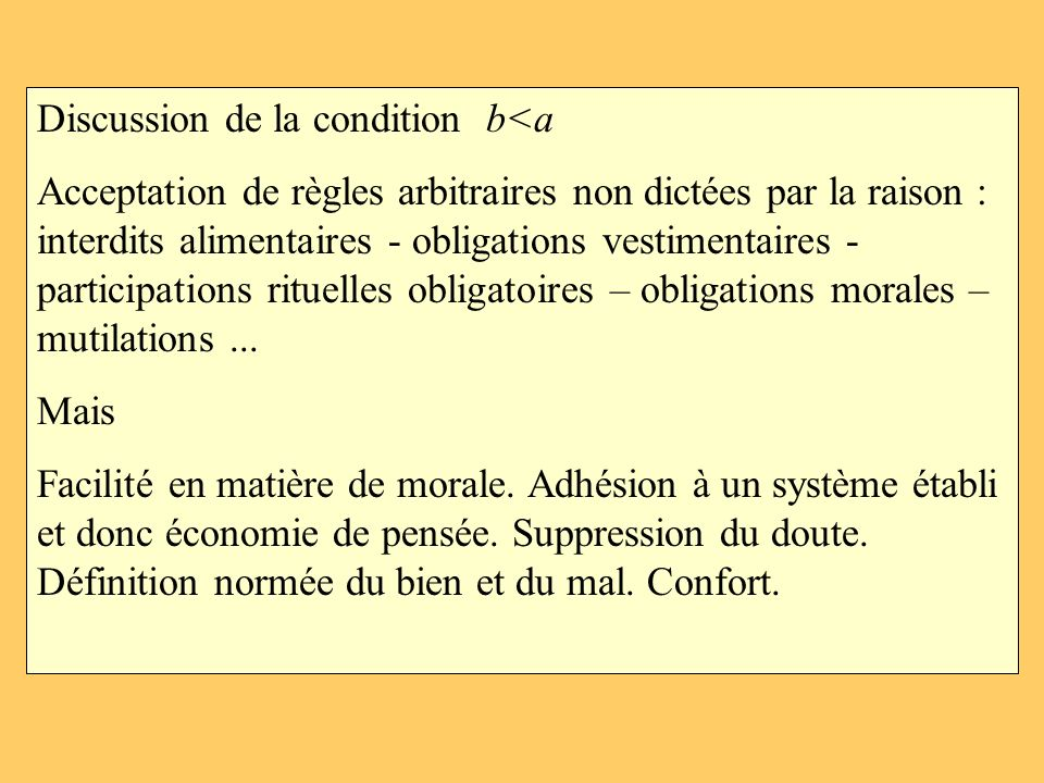 Discussion de la condition b<a