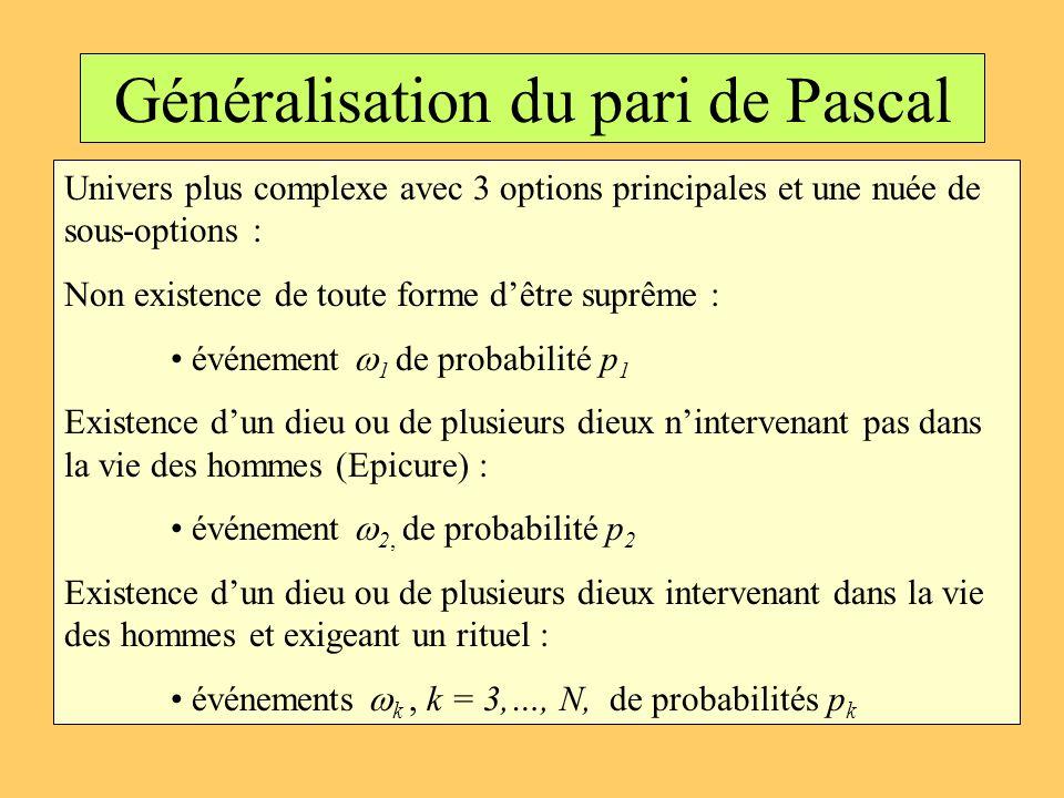 Généralisation du pari de Pascal