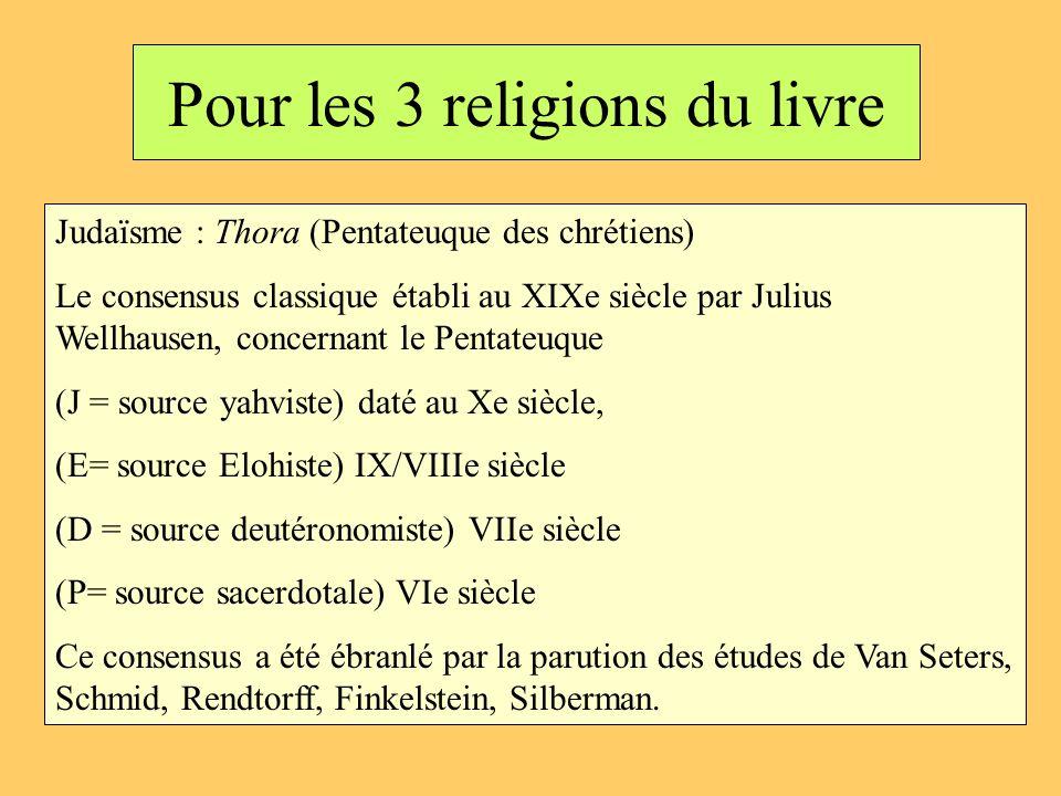 Pour les 3 religions du livre