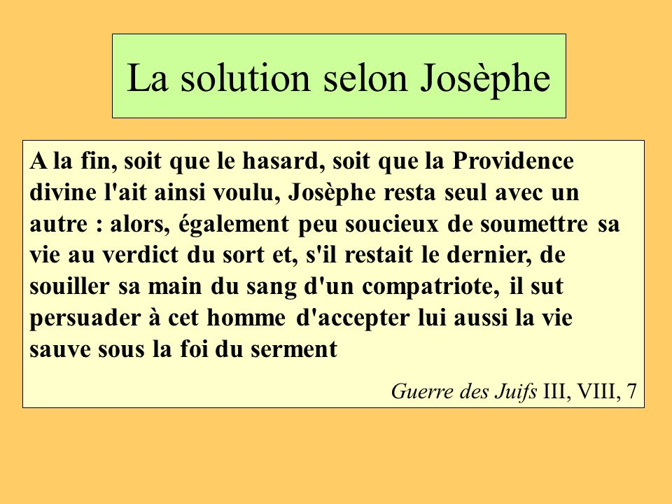 La solution selon Josèphe