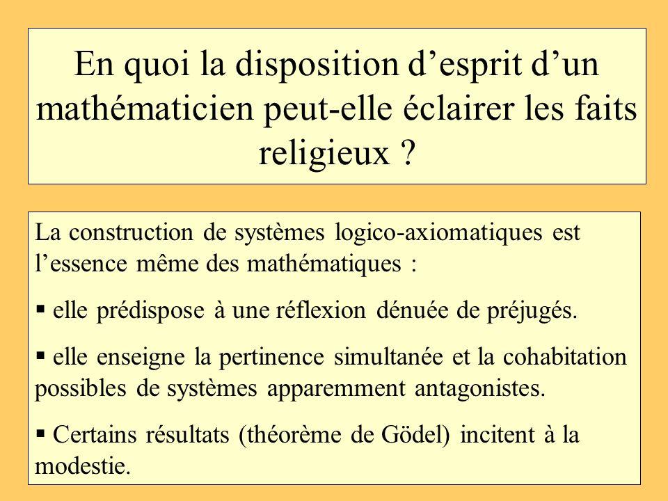 En quoi la disposition d'esprit d'un mathématicien peut-elle éclairer les faits religieux