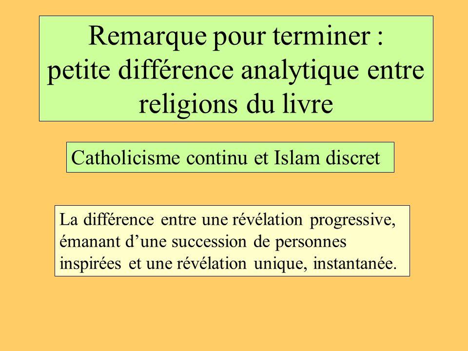 Remarque pour terminer : petite différence analytique entre religions du livre